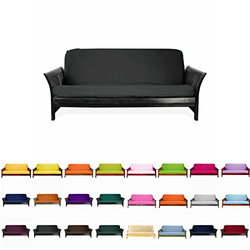 Magshion@Futon Cover Slipcover (Black, Queen (60×80 in.))