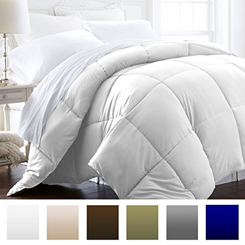 Beckham Hotel Collection 1800 Series – All Season – Luxury Goose Down Alternative Comforter – Hypoallergenic  – Full/Queen – White