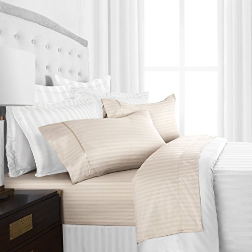 Beckham Hotel Collection Luxury Soft Brushed Microfiber 4-Piece Striped Sheet Set – Hypoallergenic & Stain Resistant with Embossed Stripes – King – Cream