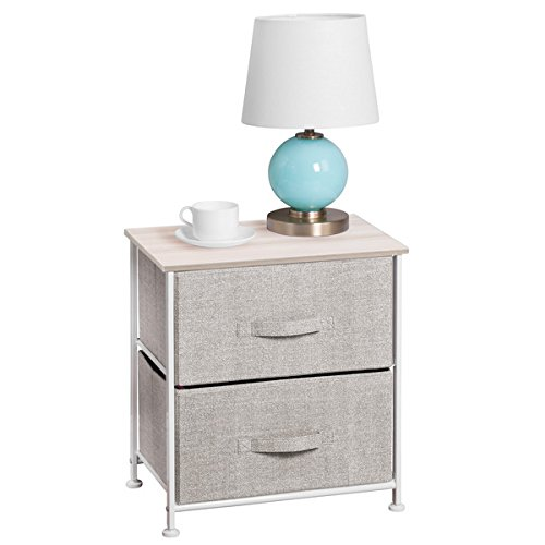 mDesign Fabric 2-Drawer Storage Organizer, Night Stand for Bedroom – Linen