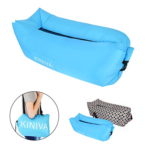 Inflatable Lounger, KINIVA Air Sofa Bed, Inflated Beach Couch Hammock Mattress Bag, Blow up Pool Camping Outdoor Portable Sleeper Sun Lounger-Blue