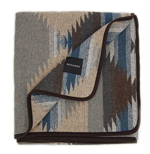 Ruth&Boaz Outdoor Wool Blend Blanket Ethnic Inka Pattern(M) (GREY, LARGE)
