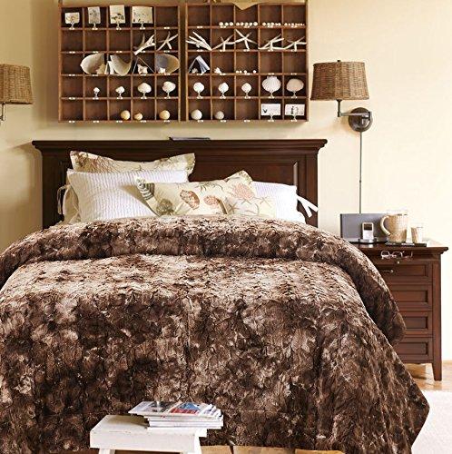 Chanasya Super Soft Fuzzy Fur Faux Fur Cozy Warm Fluffy Beautiful Color Variation Print Plush Sherpa Chocklate Fur Bed Blanket ( Queen / Full ) – Coffee Brown Waivy Fur Pattern