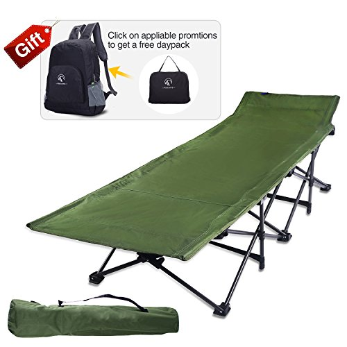 REDCAMP Camping Cots for Adults, Easy and Portable Folding Cot Bed with Carry Bag