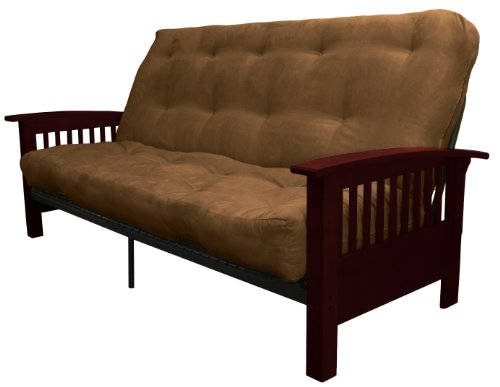 Epic Furnishings Brentwood Mission-Style 10″ Loft Inner Spring Futon Sofa Sleeper Bed, Full-size, Mahogany Arm Finish, Microfiber Suede Chocolate Brown Upholstery