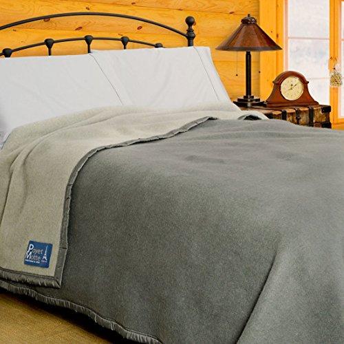 Poyet Motte Aubisque 500GSM Heavyweight 100-Percent Wool Blanket (King, Grey/Lt Grey)