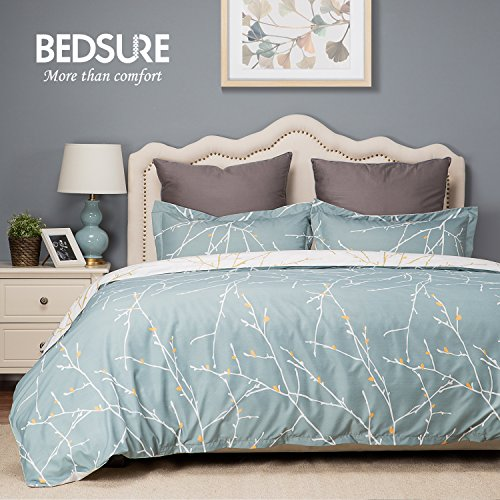 Duvet Cover Set with Zipper Closure-Green/White Printed Branch Pattern Reversible,Full/Queen (90″x90″)-3 Piece (1 Duvet Cover + 2 Pillow Shams)-110 gsm Ultra Soft Hypoallergenic Microfiber by Bedsure