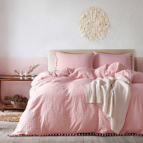 Pom poms Fringe Duvet Cover Set Meaning4 Polyester Full or Queen Size Light Pink 3 pcs(1 duvetcover + 2 pillowcase)
