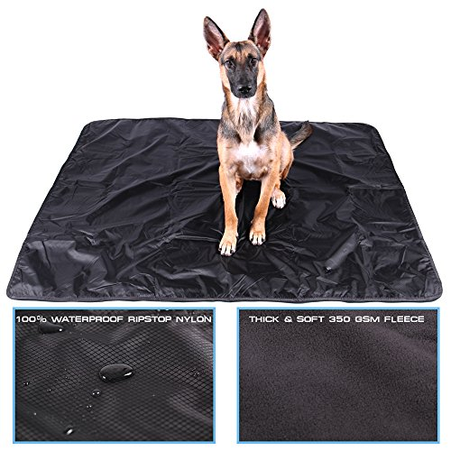 Max and Neo™ Waterproof Dog Blanket – One Side Soft Fleece, One Side Ripstop Waterproof Nylon – We Donate a Blanket to a Dog Rescue for Every Blanket Sold (Large, Black/Blue)