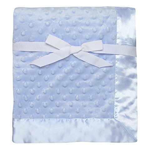 Baby Starters Textured Dot Blanket with Satin Trim, Blue 30″ x 40″