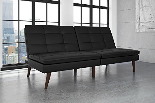 DHP Westbury Linen Pillowtop Futon, Black Faux Leather