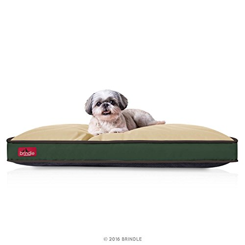 BRINDLE Waterproof Pet Bed – Machine Washable Padded Bed for Dogs and Cats – 34 x 22 inches – Khaki Forest