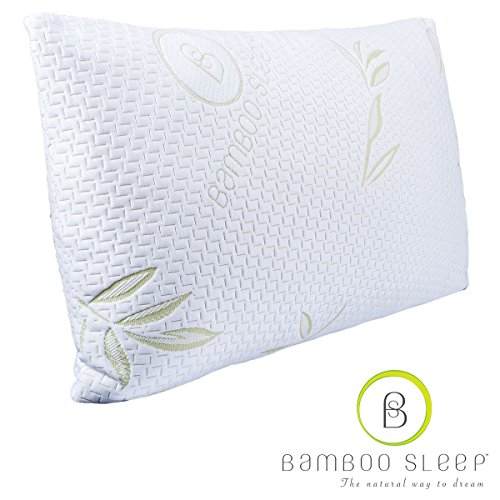 Bamboo Sleep Premium Bamboo Memory Foam Pillow. Ultra Cool Hypoallergenic Washable Bamboo Cover USA Designed King