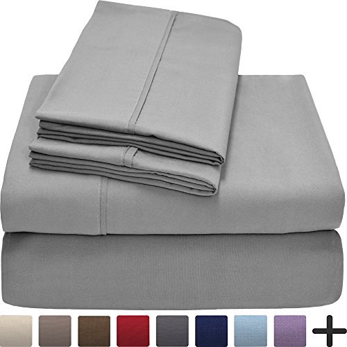 Premium 1800 Ultra-Soft Microfiber Collection Sheet Set – Double Brushed – Hypoallergenic – Wrinkle Resistant – Deep Pocket (Queen, Light Grey)