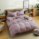 MKXI Simple Bedroom Collection 3 Pieces Purple Queen Size Duvet Cover Set,Cross Printed