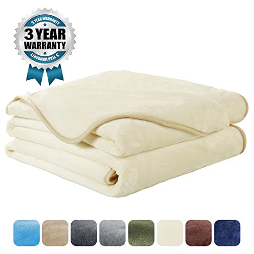 Luxury Fleece Super Soft Thermal Blanket Warm Fuzzy Microplush Lightweight Blankets for Bed Sofa, Seashell Series,Twin,66 by 90 Inches,Ivory