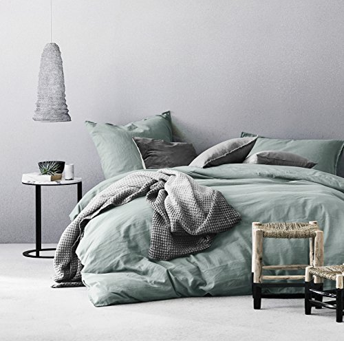 Washed Cotton Chambray Duvet Cover Solid Color Casual Modern Style Bedding Set Relaxed Soft Feel Natural Wrinkled Look (Queen, Eucalyptus Mint)