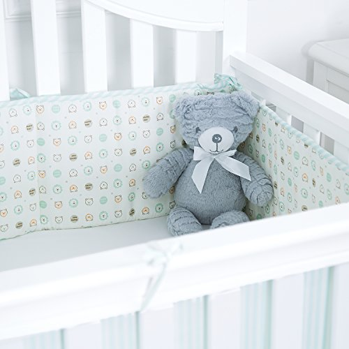 TILLYOU Padded Baby Crib Bumper, Premiun Woven Cotton and Breathable Fill-in(Microfiber) Crib Liner, 4 Piece/Bear & Lion Green