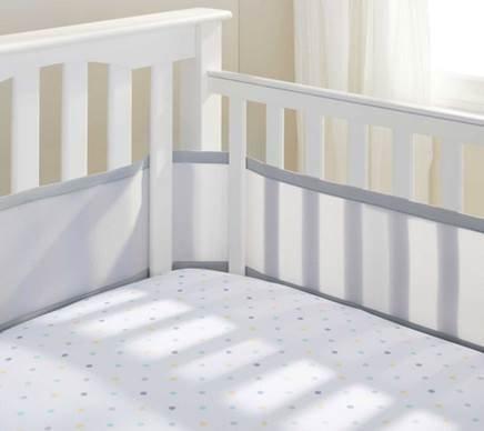 Teeny4Baby Breathable Crib Bumper Gray, Mesh Crib Liner