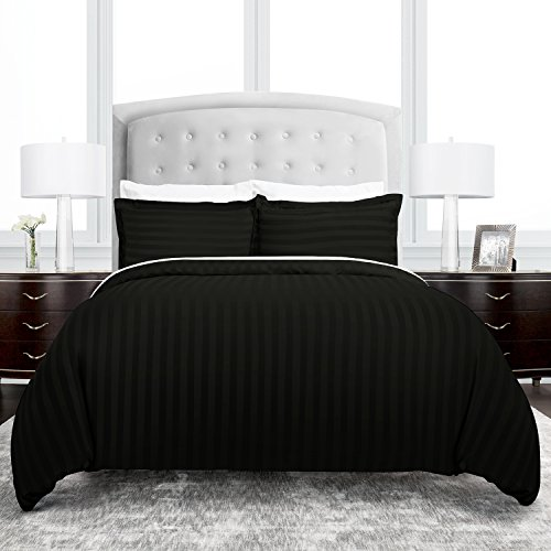 Beckham Hotel Collection Dobby Striped Duvet Cover Set – Luxury Soft Brushed Microfiber with Matching Shams – Hypoallergenic – Full/Queen – Black