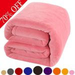 Shilucheng Fleece Soft Warm Fuzzy Plush Lightweight Twin (90-Inch-by-65-Inch) Couch Bed Blanket, Pink