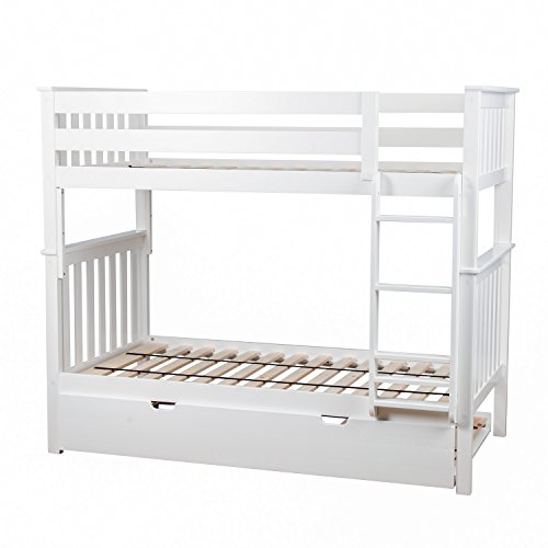 Max & Lily Solid Wood Twin over Twin Bunk Bed with Trundle Bed, White
