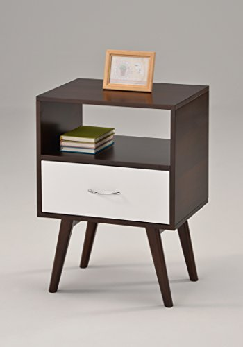 eHomeProducts Side End Table/Nightstand with Drawer/Shelf, White/Espresso