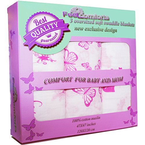Feel Comforts Muslin Baby Swaddle Blankets For Girls Xl 47×47 Inch 3 Pack Pink Color, Extra Soft Wrap Set, Kitty/Flowers/Butterflies, Newborns Large Receiving Blanket