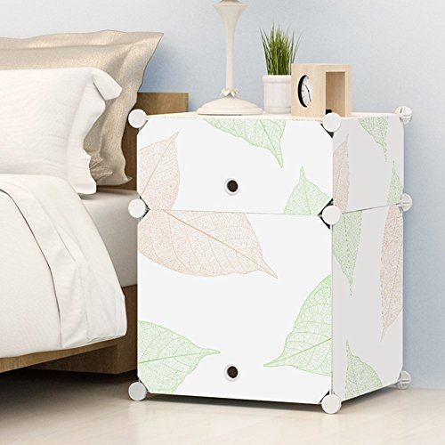 KOUSI Portable Plastic Nightstand End Table DIY Storage Cabinet Temporary Use Furniture, White with Leaf Pattern