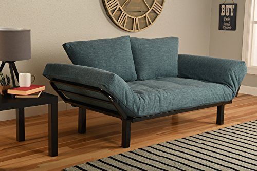 Best Futon Lounger Sit Lounge Sleep Smaller Size Furniture is Perfect for College Dorm Bedroom Studio Apartment Guest Room Covered Patio Porch (AQUA LINEN)