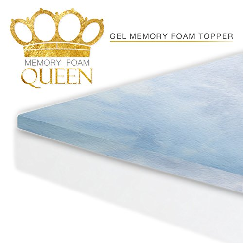 Memory Foam Queen Cool Gel Mattress Topper (Queen Size). For Better Sleep and Extra Comfort. 60 Night Sleep Trial. Made In USA. Mattress Pad Fits Bed Sizes (Twin, Twin XL, Full, Queen, King, Cal King)