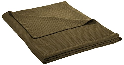 Superior 100% Cotton Thermal Blanket, Soft and Breathable Cotton for All Seasons, Bed Blanket and Oversized Throw Blanket with Luxurious Diamond Weave – Full/Queen Size, Forest Green