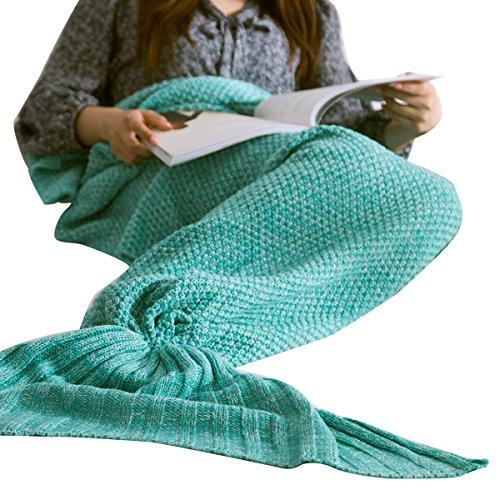 Mermaid Tail Blanket, Oenbopo Knitted Crochet Blanket Wool Warm Sofa Bed Car Seat Blanket Sleeping Bag 80X180CM for Adults ,Suitable for All Season