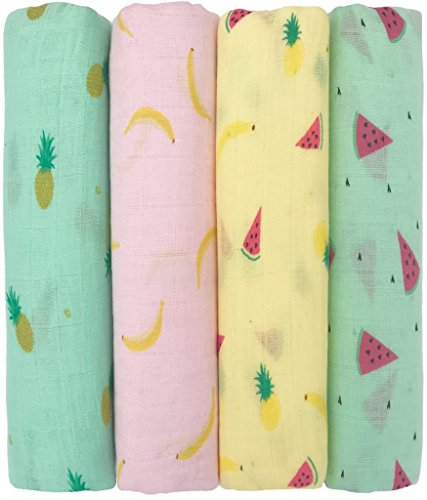"""❤️ Muslin Baby Swaddle Blankets """"Tutti Frutti"""" 4 Pack- CuddleBug 47 x 47 inch Large Fruit Muslin Swaddles – Soft Cotton Blankets – Baby Shower Gift – Perfect for Nursery Sets – Unisex!"""