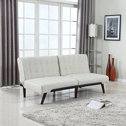 Modern Tufted Linen Splitback Recliner Sleeper Futon Sofa (Beige)