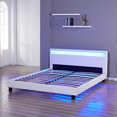 UHOM Modern Queen Bed Frame Home Bedroom Double Size Leather Platform Wood Slat with LED Light Headboard White
