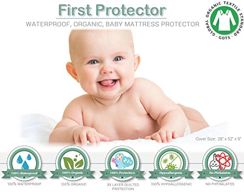 First Protector ORGANIC Cotton Crib Mattress Protector – 100% Waterproof, Hypoallergenic – Premium Fitted Organic Cotton/ Washer/Dryer Friendly