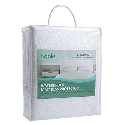 Sable Mattress Protector Queen Size, 100% Waterproof Hypoallergenic, Bed Bug and Dust Mite Protection, Breathable and Machine Washable, Vinyl Free