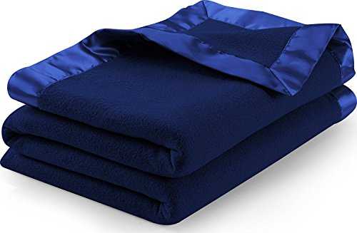 Sateen Polar Fleece Blanket (Twin, Navy) – Extra Soft Brush Fabric, Super Warm Bed Blanket, Lightweight Couch Blanket, Sateen Ribbon Edges, Easy Care – by Utopia Bedding