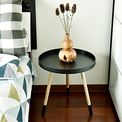 WELLAND Side/End/Sofa/Snack Table Wood Tray Night Stand (Approx 20-Inch Tall, Black)