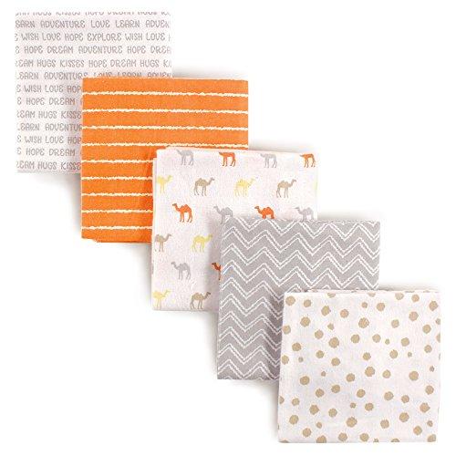 Luvable Friends 5-Piece Flannel Receiving Blankets, Camel, 28″ x28″