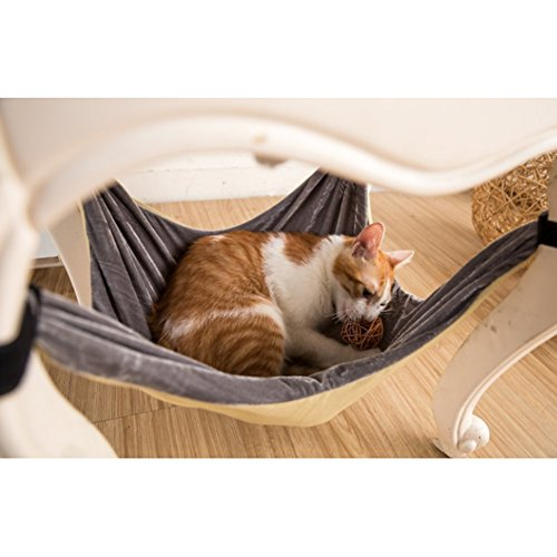 Cat Hammock Bed – Soft Warm and Comfortable Pet Hammock Use with Chair for Kitten, Ferret, Puppy, or Small Pet (Khaki)