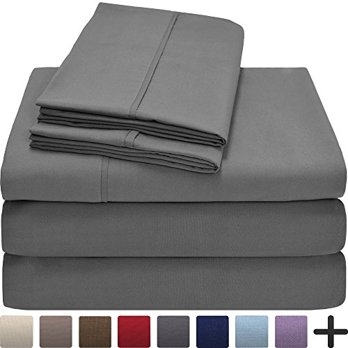 Premium 1800 Ultra-Soft Microfiber Collection Sheet Set – Double Brushed – Hypoallergenic – Wrinkle Resistant – Deep Pocket (Split Queen, Grey)