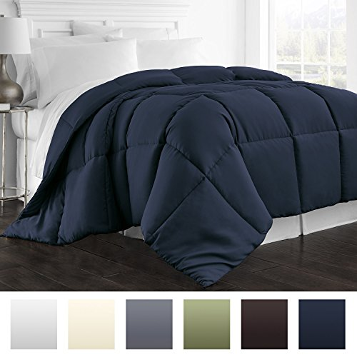 Beckham Hotel Collection 1800 Series – All Season – Luxury Goose Down Alternative Comforter – Hypoallergenic  – King/Cal King – Navy