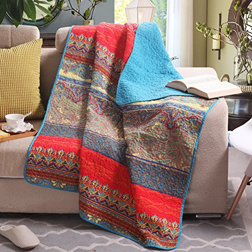 Luxury Reversible 100% Cotton Paisley Boho Stripe Quilted Throw Blanket 60″ x 50″ Machine Washable and Dryable