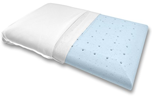 Bluewave Bedding Super Slim Ventilated Gel-Infused Memory Foam Pillow with Bamboo Cover, Hypoallergenic Thin and Flat Pillow