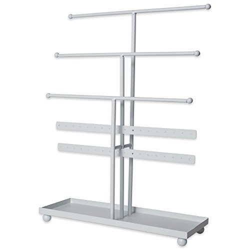 Home Traditions Jewelry Organizer Tree Tower, 3 Tier Metal with Modern Look and Jewelry Organization – White