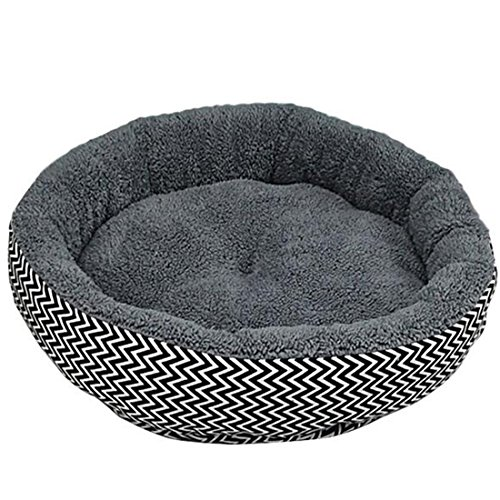 Hot Sale 2 Colors Round Soft Dog House Bed Striped Pet Cat And Dog Bed Grey /Red-Blue Size S M Pet Products