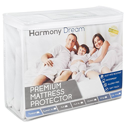 Full Size Harmony Dream Cotton Terry Mattress Protector – Premium Hypoallergenic Waterproof Mattress Cover – Vinyl Free, Fits Well, Machine Washable, Noiseless – 10 Year Warranty
