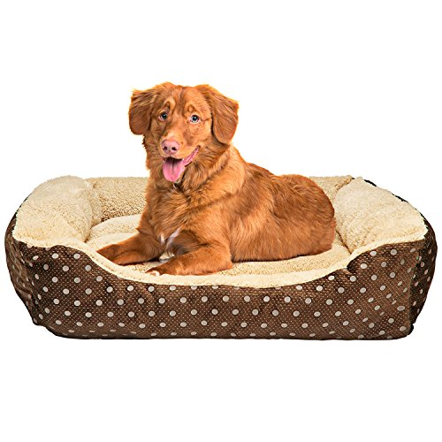 Animals Favorite Dog Bed, Luxury Embossed Rectangle Bed (Large 25×21-in)